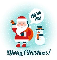 Santa snowman flat vector