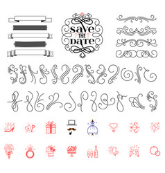 save the date icons wedding and flourish vector image