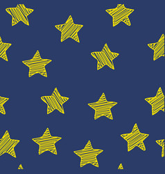 Scribble stars on dark blue background christmas vector