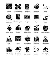 Set of map and navigation glyph icons vector