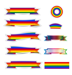 set of rainbow ribbon stickers vector image