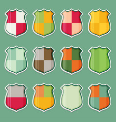 Shield icon set flat vector