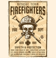 Skull in gas mask and firefighter helmet poster vector