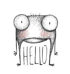 Strange hand drawn creature greeting vector