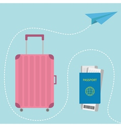 Suitcase icon Passport air boarding pass ticket vector