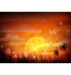 Sunset background with animals dra vector