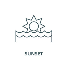 sunset line icon linear concept outline vector image