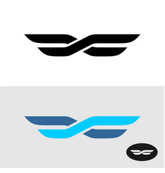 two lines intersected as wings title logo vector image