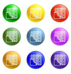 Under wall heater icons set vector