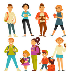 university students and school pupils teenagers vector image