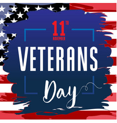 veterans day card usa blue brush paint banner vector image