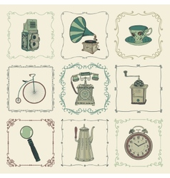 Vintage Colorful Icons Objects and Frames vector
