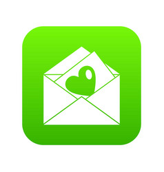 vintage envelopes and heart icon digital green vector image