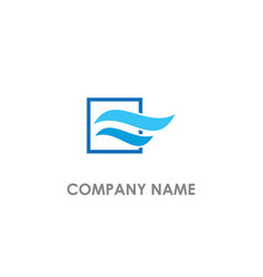 Wave air flow blue color logo vector
