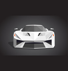 White sport car on grey background - polygonal vector