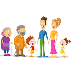 whole family character cartoon standing together vector image