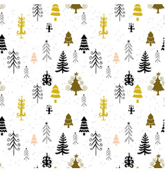 winter forest trees pattern a woodland background vector image