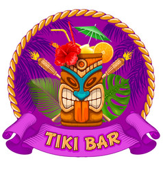 Wooden mug with tiki mask and signboard of bar vector