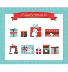 christmas and new year present box set vector image vector image