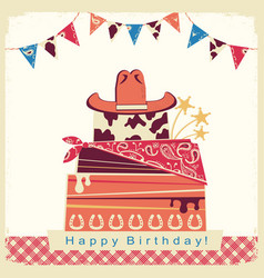 Cowboy happy birthday party card with cake and vector