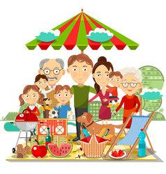 Picnic family vector image