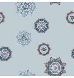 Seamless Abstract Colored Snowflakes Pattern vector image vector image