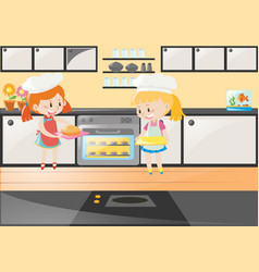 two girls baking cake in kitchen vector image