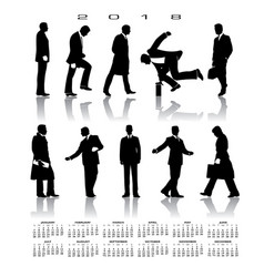 a 2018 calendar with 10 businessmen silhouettes vector image vector image