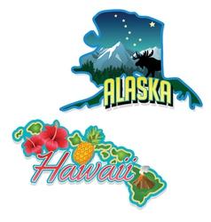 Alaska Hawaii retro state facts vector image vector image
