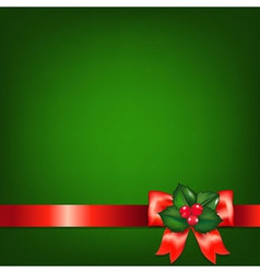 Christmas Red Ribbons With Holly Berry vector image