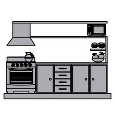 Grayscale silhouette of lower kitchen cabinets vector