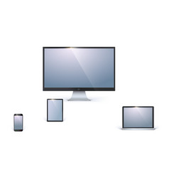 icons of blank electronic devices with white vector image