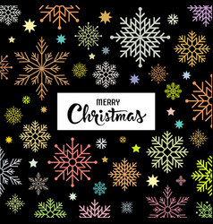 merry christmas colorful snowflake background vector image vector image