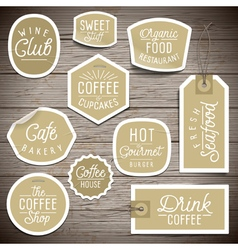 Slogans stickers food coffee vector