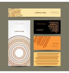 Business cards collection ethnic ornament for your vector image