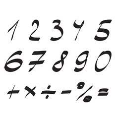 Handwritten font arabic numerals set vector