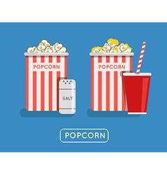 Popcorn food Popcorn in bucket Big popcorn box vector image