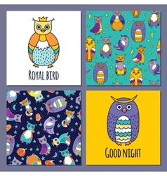 set of owls and two seamless patterns vector image vector image
