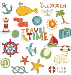 summer holiday doodle collection vector image vector image
