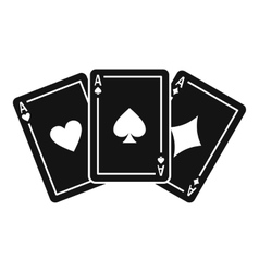 Three aces playing cards icon simple style vector image vector image