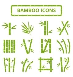 Bamboo stalks and leaves icons Asian bambu vector image vector image