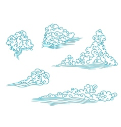 Blue and fluffy clouds set vector image