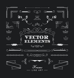 set of vintage retro linear thin line art deco vector image vector image