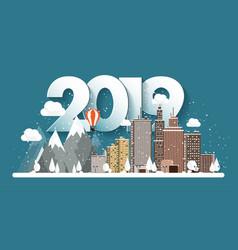 2019 winter urban landscape vector
