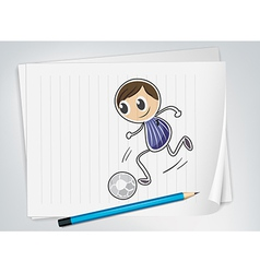 A piece of paper with a soccer player vector image