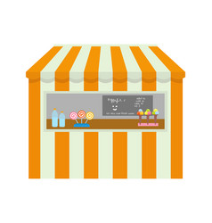 Amusement park tent with items to buy shop kiosk vector