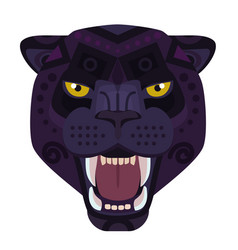 Angry black panther head logo wild cat vector