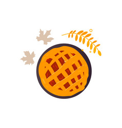 apple pumpkin fruit pie and fall autumn leaves vector image