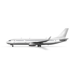 Blank glossy white airplane or airliner side view vector