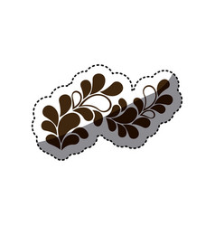 Brown leaves decoration icon vector